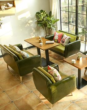 休闲复古美式餐厅卡座皮沙发