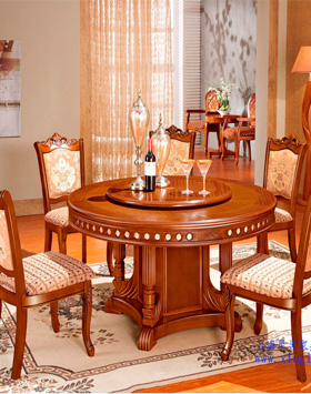 六人位中式实木餐厅桌椅