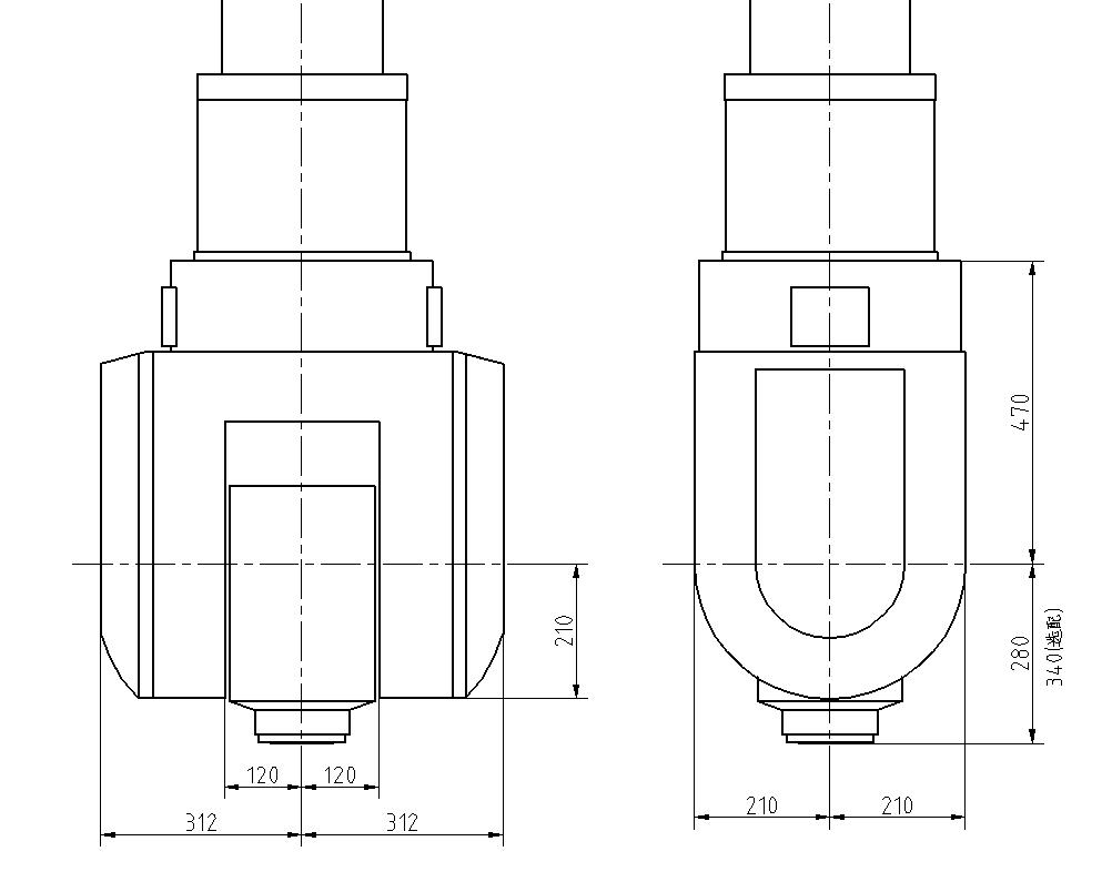 A/C聯動雙擺頭外型尺寸簡圖