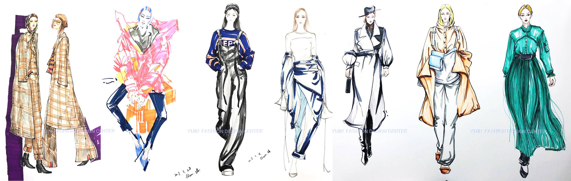 服装手绘效果图、学生作品