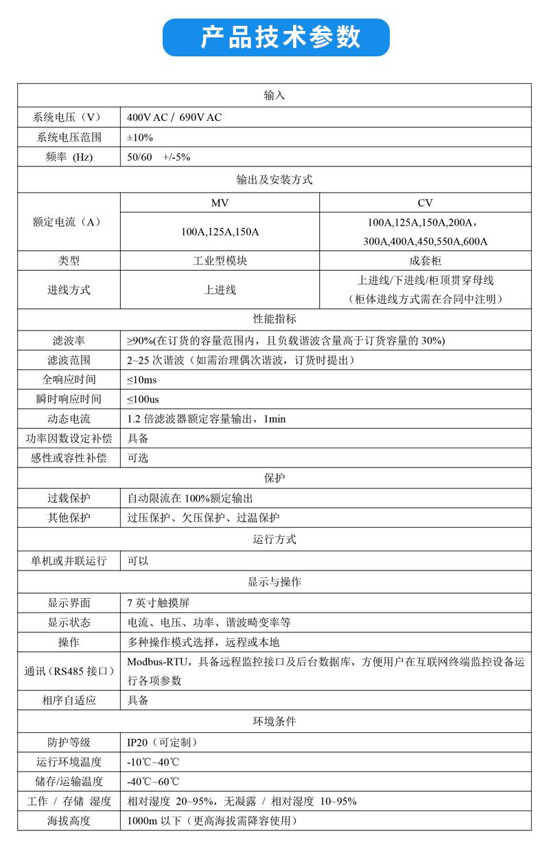 工业型有源电力滤波器APF技术参数