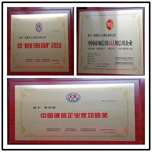 果唯伊参加中国第十六届诚信企业家大会获得以下荣誉