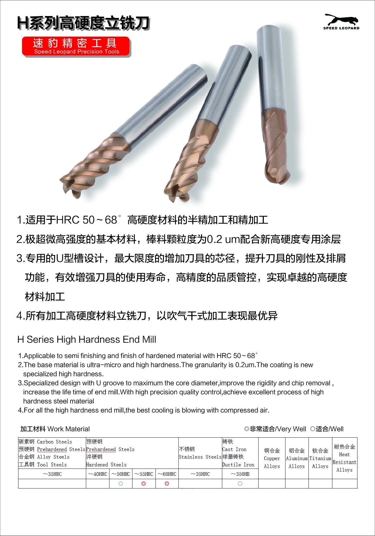 速豹高硬材料加工立铣刀