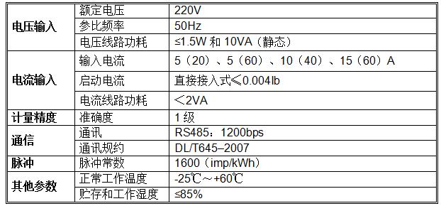 单相本地导轨式预付费电能表技术参数