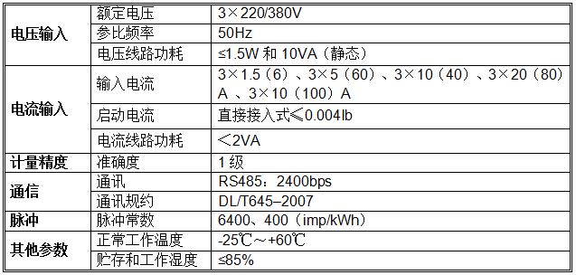 三相导轨式预付费电能表技术参数