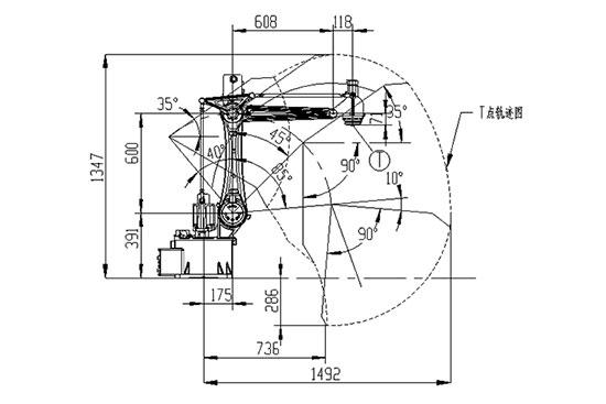 SF8-K1492四轴搬运机器人运动范围图