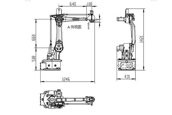 SF15-K1538四轴搬运机器人外观及安装尺寸