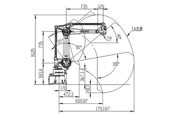 SF25-K1760搬运机器人运动范围图