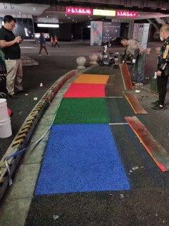 上海国家会展中心十万平水性聚氨酯彩色路面打样