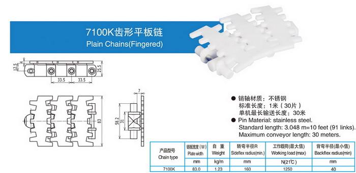 7100K齒形平板鏈