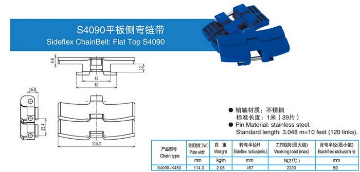 S4090平板側彎鏈帶