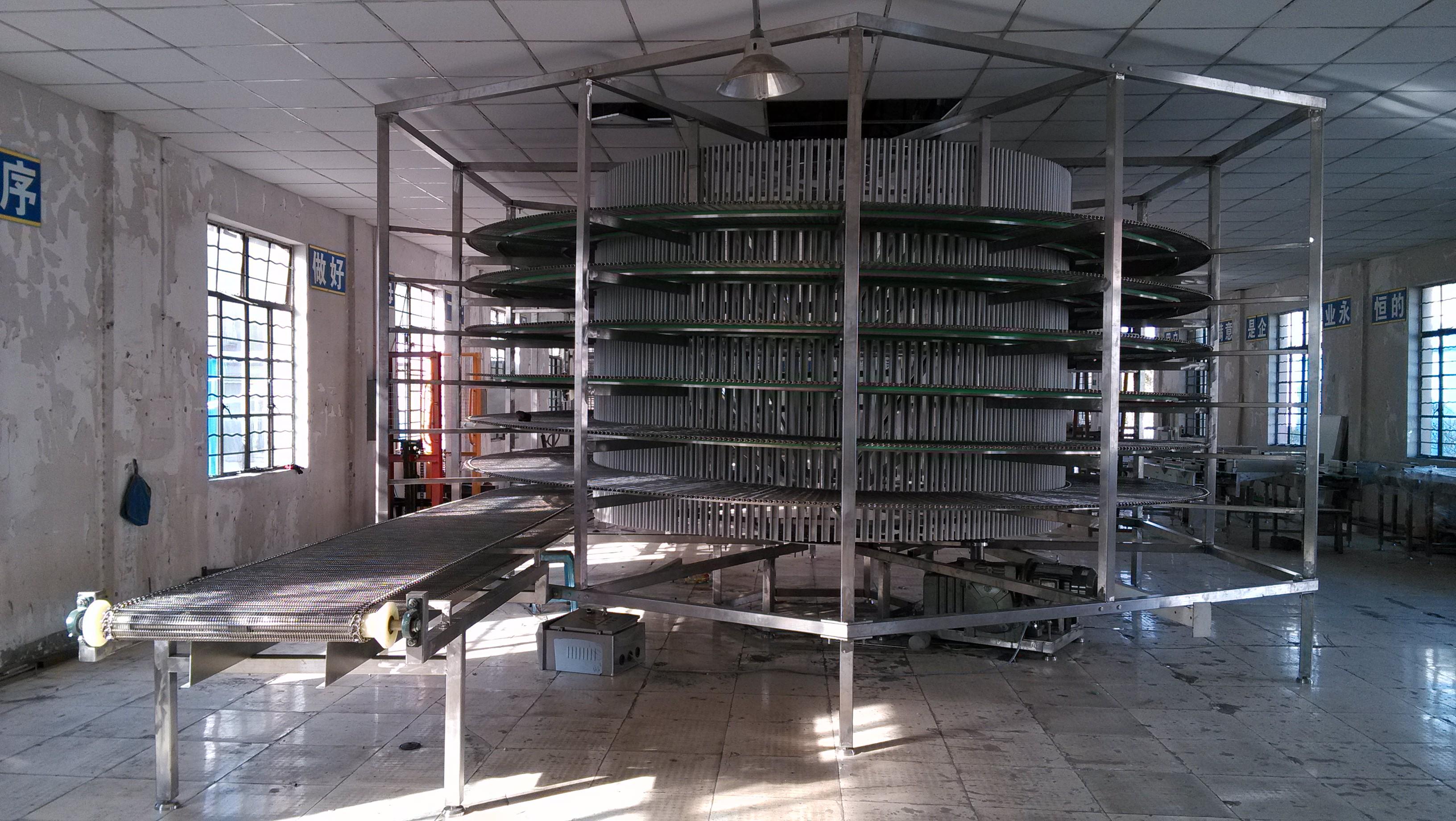 面包螺旋冷卻塔周轉輸送系統
