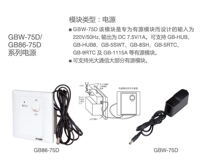 GBW-75D/GB86-75D 電源系列