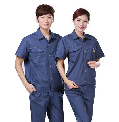 现货夏季涤棉细斜纹短袖工作制服(1823-蓝款)