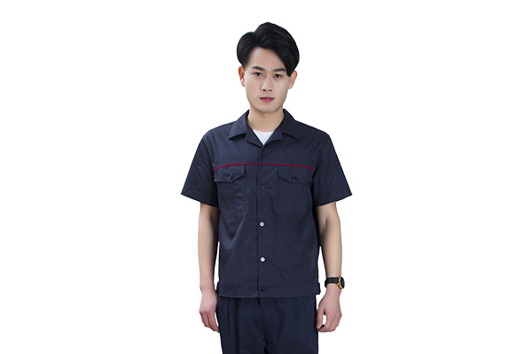 夏季涤棉短袖工作服定做批发(8309-藏青款)