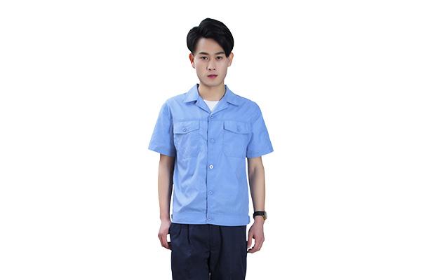 夏季涤棉短袖工作服定做批发(8315-浅蓝款)