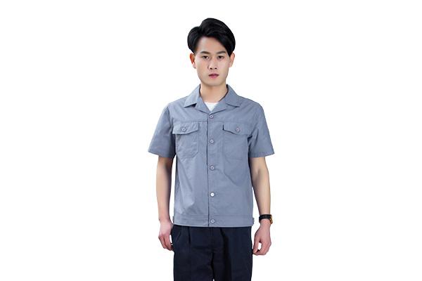 夏季蓝灰色涤棉工作服定制套装(8316款)