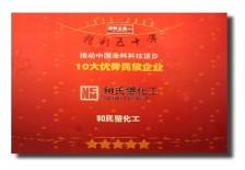 推動中國涂料科技進步 10大優秀民族企業獎