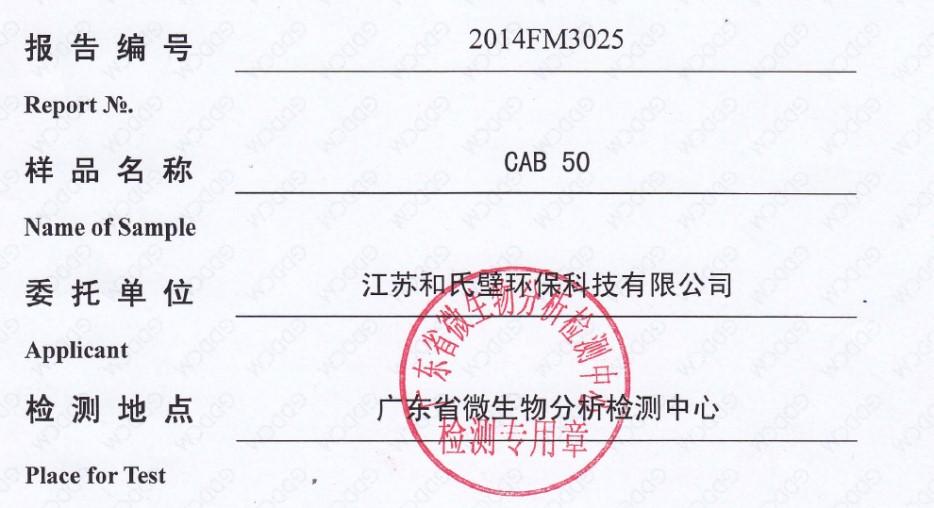 甲醛捕捉劑CAB 50檢測結果