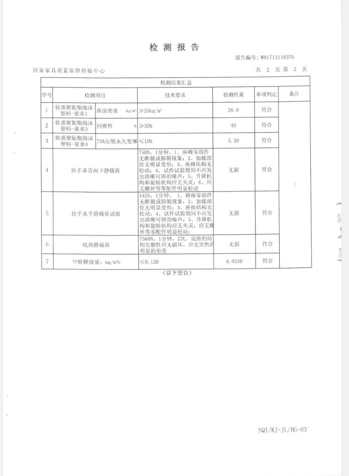 办公椅检测报告第2页