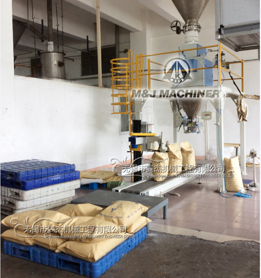 starch packing machine, weighing filling sewing machine for potato starch,net weight bagging machine,net weight packing machine,M&J Machinery Engineer Co.,Ltd.