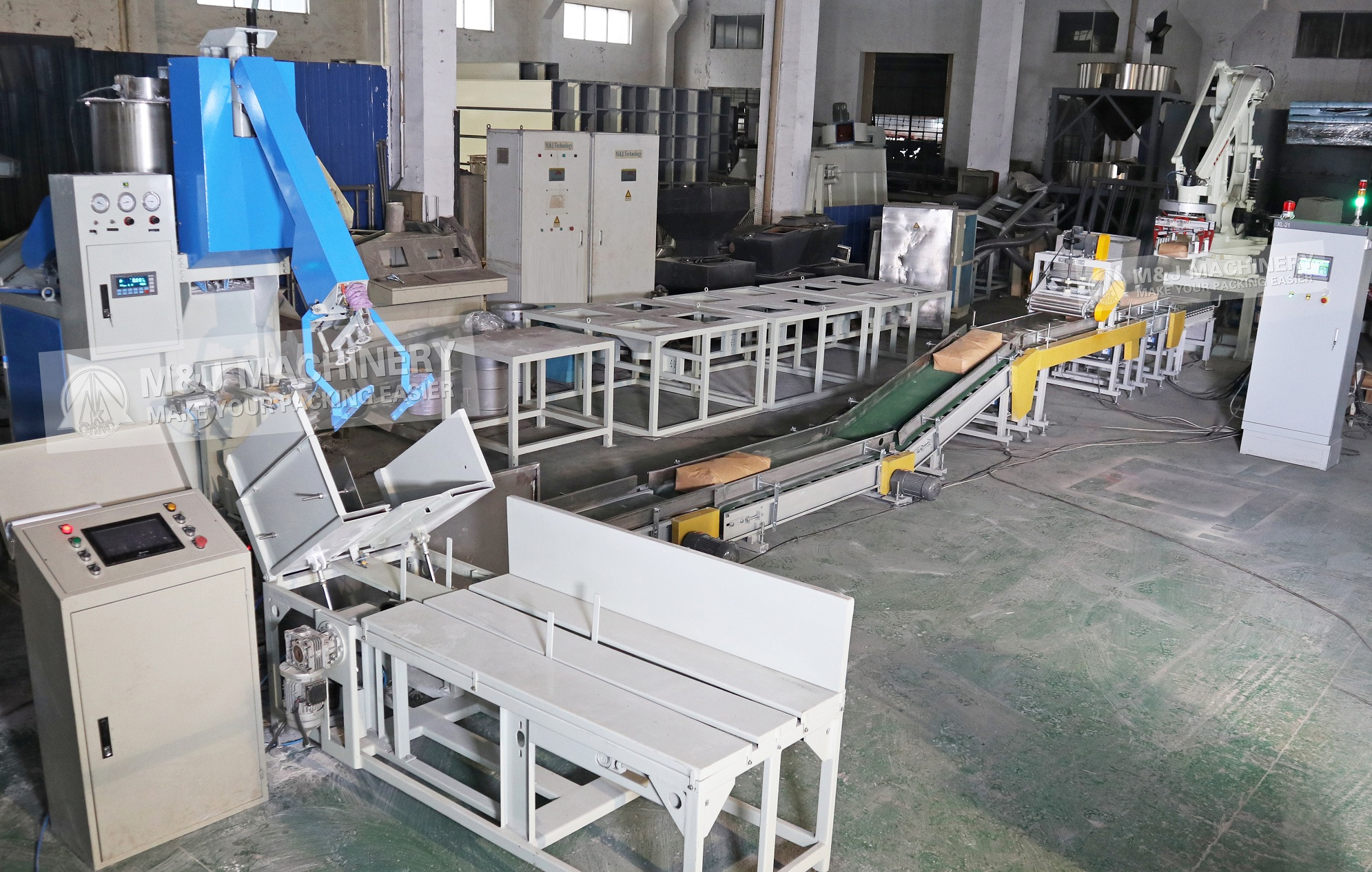 Automatic valve bag filling machine, fully automatic valve bagging line