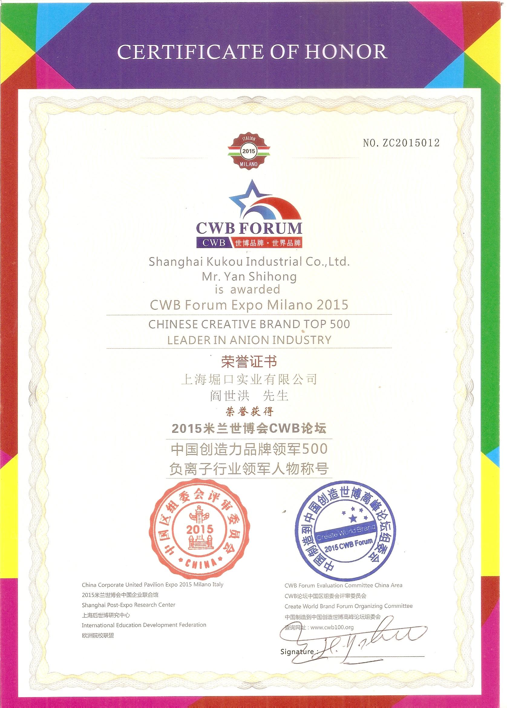 奖项:米兰世博会负离子行业领军奖