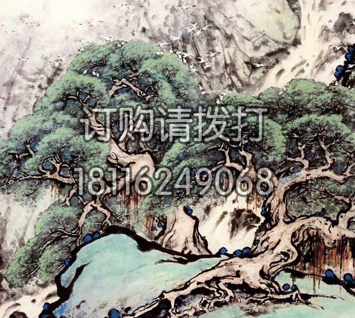 松树山水背景画无缝墙布SS-007