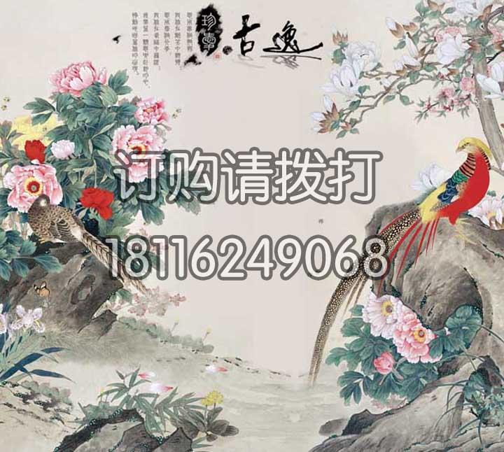 花鸟电脑手绘无缝墙布SH-003