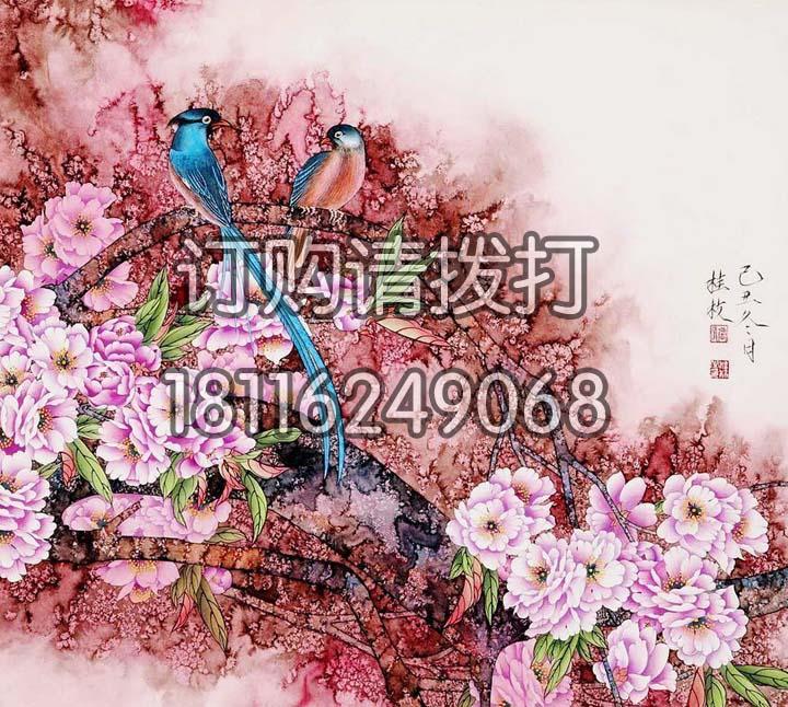 桃红色花鸟背景画无缝墙...