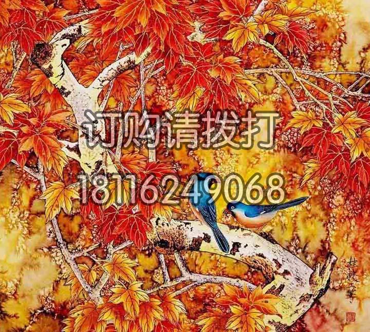橙色工笔画花鸟无缝墙布HN-008