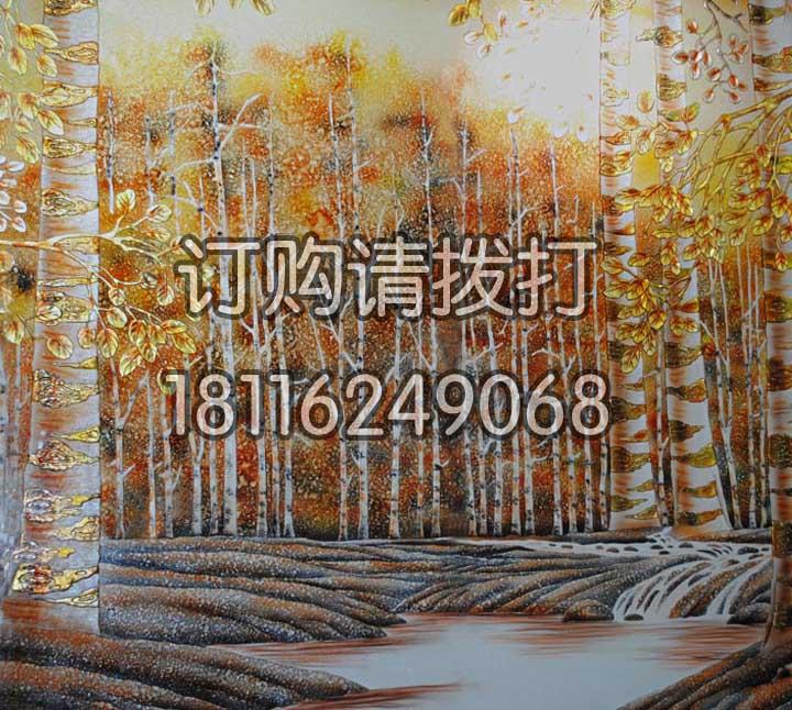 精美梧桐树浮雕背景画墙...