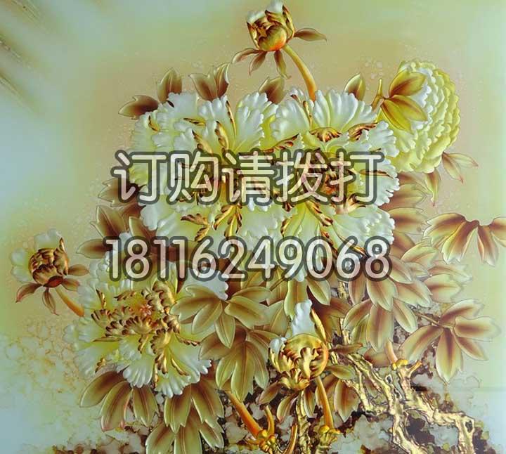 金色工笔浮雕背景画墙布...