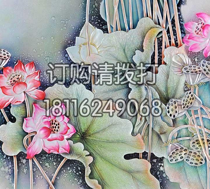 精美莲花浮雕无缝墙布FD-008