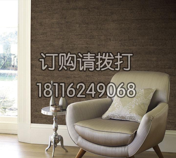 棕色木纹酒店客房无缝墙...