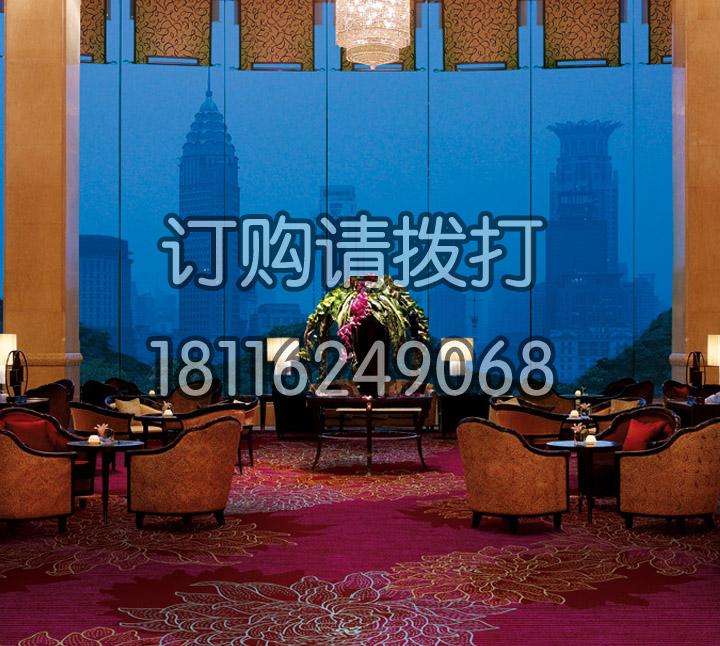红色酒店休闲区地毯印花地毯-006