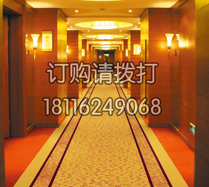 酒店走廊黄色碎花尼龙地...