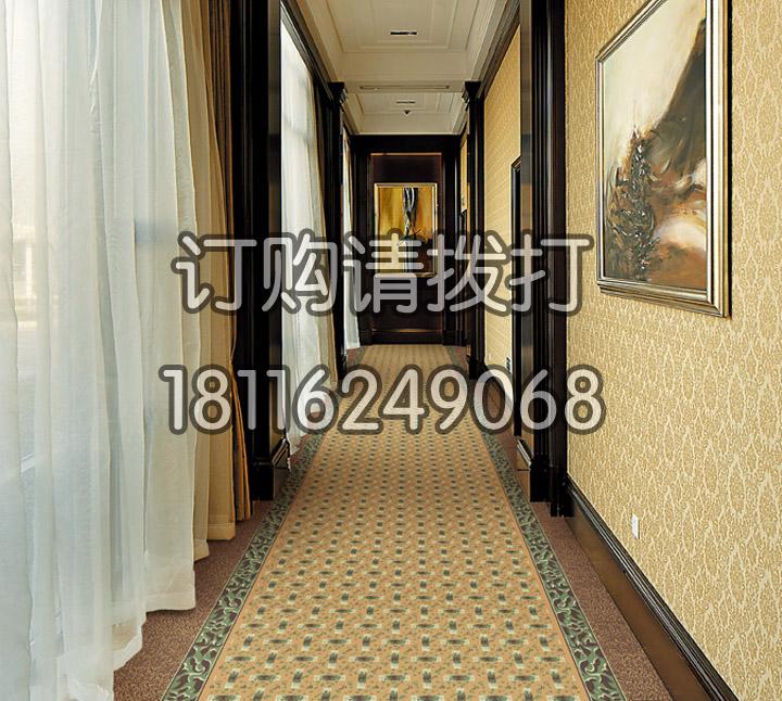 酒店走道黄色尼龙印花地...
