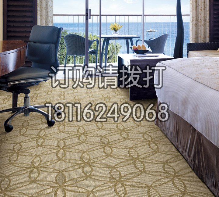 宾馆客房浅黄色簇绒地毯...