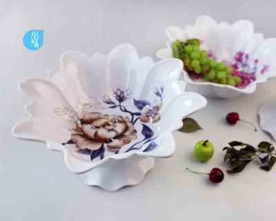 八角花瓣帶座果盤-2200/2201