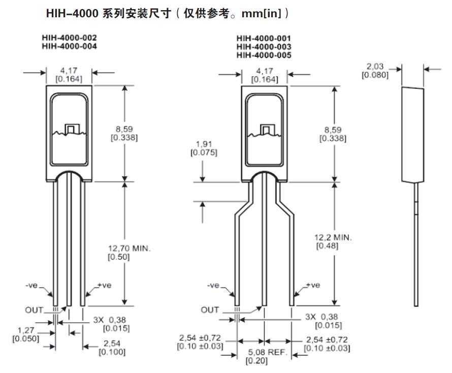 温湿度传感器之HIH-4000单湿度传感器元件电压输出型湿度传感器尺寸