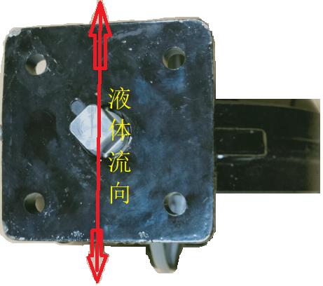 V8BFW16蝶阀处于打开位置样式,阀杆上的刻度与液体流向平行