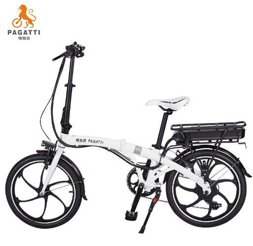 帕加迪折叠自行车电动车锂电池20寸迷你型小型两轮双人电瓶车