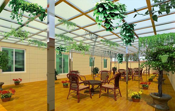 聚碳酸酯U型隔热阳光板让庭院既保证充足阳光又可以避晒挡雨
