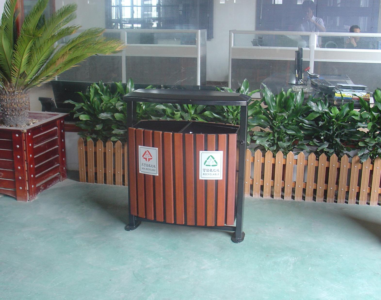 钢木双桶垃圾桶XB4-018