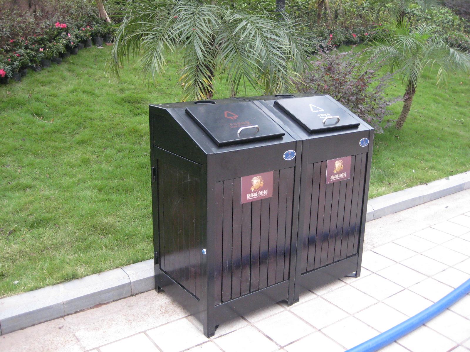 钢木双桶垃圾桶XB4-022