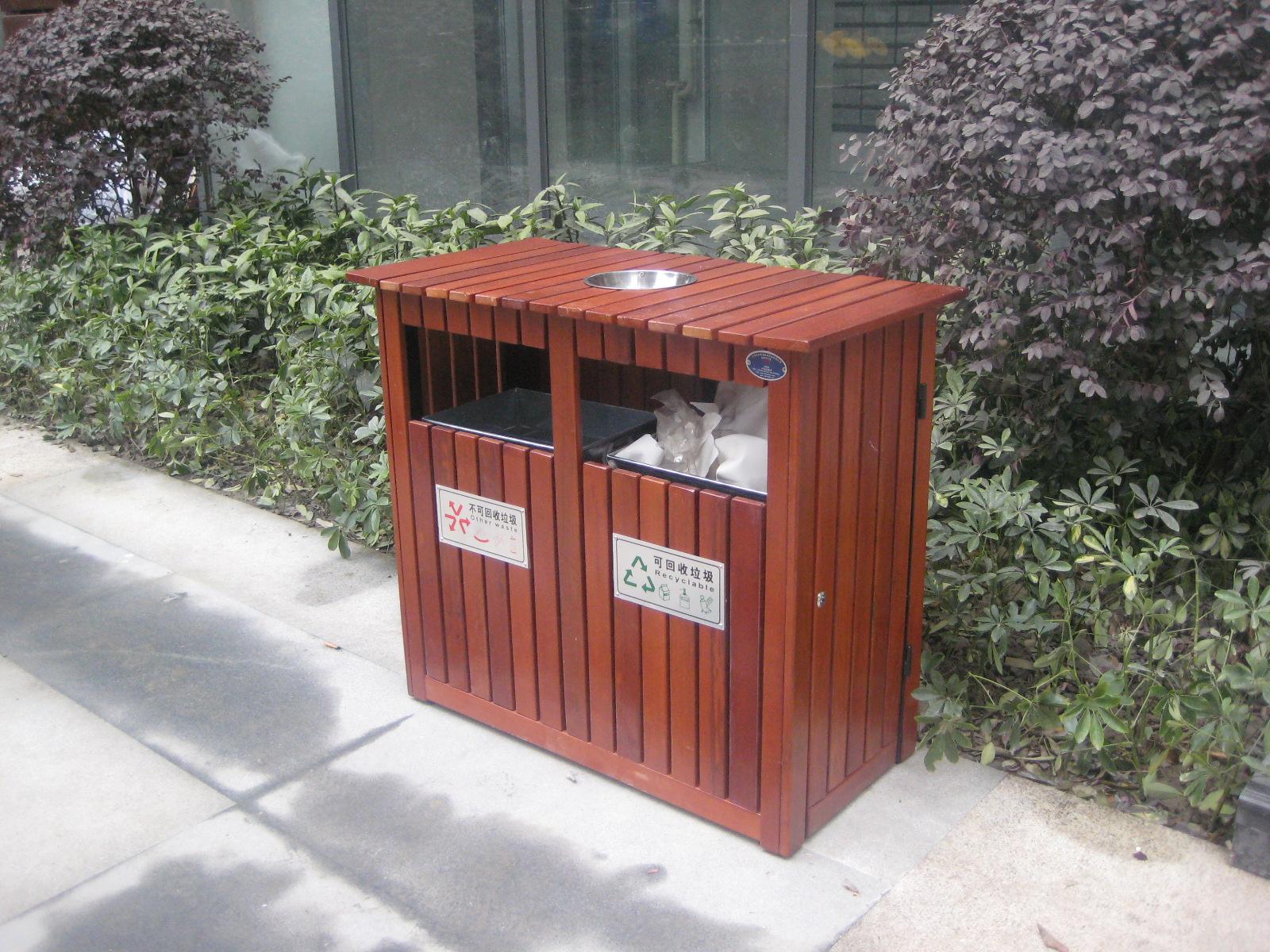 钢木双桶垃圾桶XB4-024