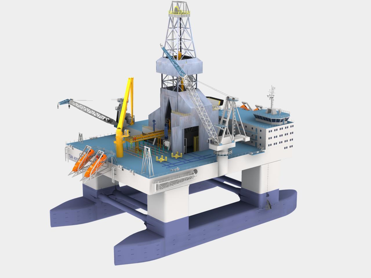 半潜式钻井平台模型