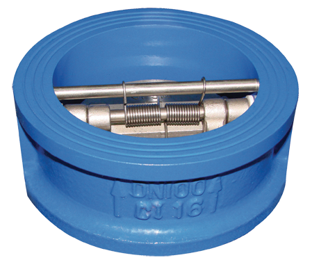 Iron body wafer dual plate check valve