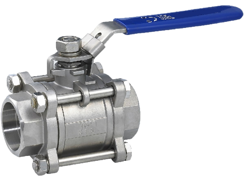 Socket weld end, three-piece body SS ball valve